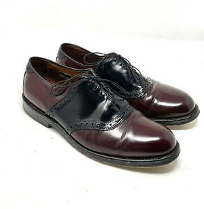 Allen Edmonds Shelton Black Burgundy Leather Saddle Oxford Shoes Size 9.5