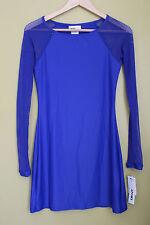 125d5b34e5 DKNY Electric Blue Scuba Dress LS Mesh Beach Swim Cover up XS