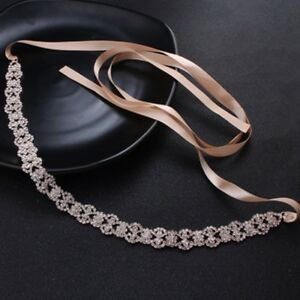 Vintage Bridal Handmade Ribbon Pearl Rhinestone Crystal Wedding Dress Belt Sash