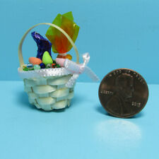 Dollhouse Miniature Easter Wicker Basket Filled with Goodies B0322