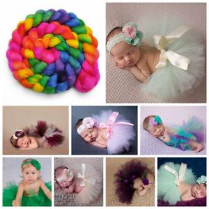 Newborn Baby Girl Inflat Tutu Skirt & Headband Costume Photography Photo Outfits