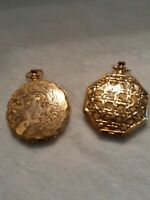 Max Factor Vintage Compacts Set of Two, 1950's Brass Carved Stopwatch style