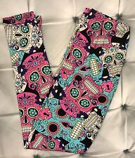 One Size Colorful Sugar Skull Print Leggings OS 2-10 Buttery Soft Halloween