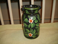 Lovely MU Udine Tin Canister Italy-Painted Tin Toleware Pattern-Floral Patterns