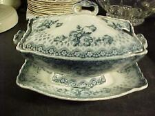 Ford & Sons Flow Blue Tureen with Lid & Underplate Chatsworth