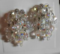 Vintage Laguna Aurora Borealis Crystal Clip Earrings NOS AB Bling