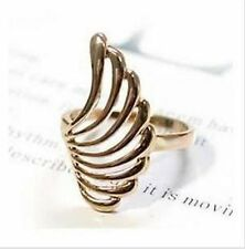Gold tone metal smooth feather ring