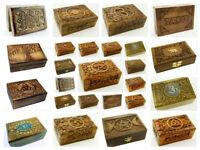 Wooden Carved Box Pentagram Ohm Triple Moon Pagan Tarot Card Box Spells Rune