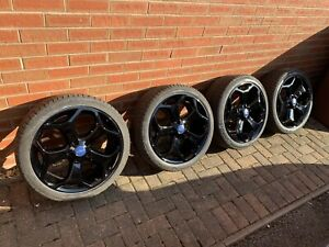 Ford Focus ST Mk2 R18 Black Alloy Wheels + Tyres 2005 - 2010 Great Condition!