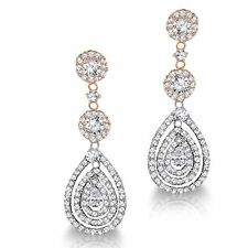 Drop Dangle Simulated Diamond Rose Gold & Sterling Silver Bridal Earrings