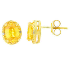 2 Ct Citrine & Diamond Oval Stud Earrings 14Kt Yellow Gold Plated