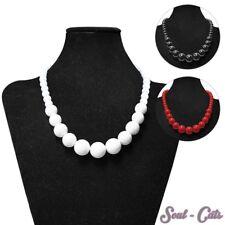 Perlenkette Perlen Halskette Hals Ketten Acryl rot schwarz weiß 50cm