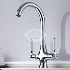 Chrome Kitchen Mono Sink Tap Luxury Designer Modern Mixer Twin Lever Swivel UK
