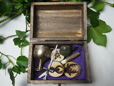 Wiccan Travel Altar Set in Wooden Box - Wand, Athame, Chalice, Pentagram, Witch