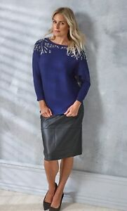 Embellished Batwing Knit Top  - Ladies Womens - Klass Collection