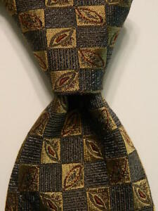 JOSEPH ABBOUD Men's Silk Necktie ITALY Luxury Designer Geometric Gray/Brown NWT