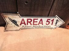 """Area 51 Alien Abduct This Way To Arrow Sign Directional Novelty Metal 17"""" x 5"""""""