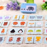 Baby Kids Cognition Puzzle Toys Toddler Iron Box Cards Matching Game Cognitive J