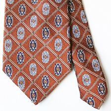 Jos A Bank Signature Brown Navy Blue Damask Tie 100% Silk Made in Italy