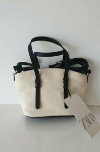 Zara beige/ecru Canvas Mini City Bag crossbody bag new with tags