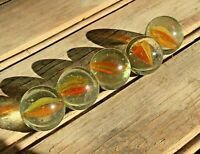 Vintage Lot of 5 Vitro Agate Marbles Hybrid Orange/Yellow Cat's Eye