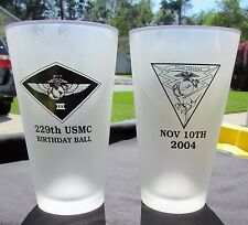 2004 USMC 229th Birthday Ball Glasses - 3rd MAW MCAS Miramar, CA - TOP GUN