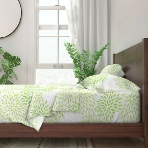 Mums Flowers Green Decor 100% Cotton Sateen Sheet Set by Roostery