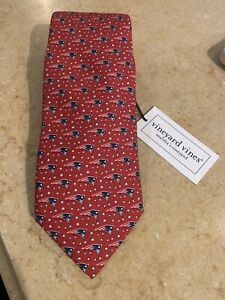NEW Vineyard Vines NFL New England Patriots Football Logo Red Silk Tie NWT $85