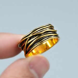 Vintage Jewellery Gold Coil Wrapped Ring for Women Men