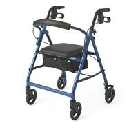 "Medline Basic Aluminum Rollator with 6"" Wheels, Blue"