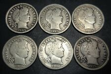 6 coins) 1906S,07S,08S,10S,12S,15S Barber silver 10C dimes No Reserve Auction!
