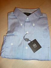 NEW $200+ IKE BEHAR Mens Dress SHIRT 16 37 Blue Made in USA 100% Cotton BC