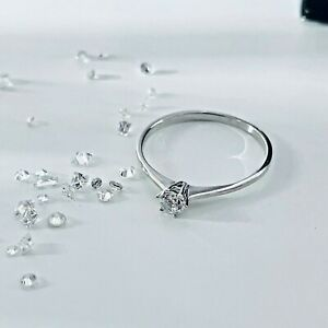 Ladies 925 Sterling Silver Cubic Zirconia Engagement Solitaire Ring Sizes I-U