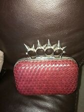 Designer Malissa J Leather Gothic spiked red Mock Clutch Bag BNWT