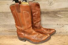 MENS BROWN LEATHER COWBOY WESTERN BOOTS SZ 9.5 EE
