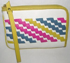 Fossil Canvas White Yellow Zip Around Small Wristlet Pebbled Leather Wallet