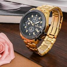 Luxury Mens Gold Stainless Steel Date Quartz Analog Wrist Watch Black Dial ☪D