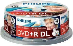 Philips - DR8I8B25F/00 - Dvd+r Dl 8.5gb (8x) Inkjet Printable Spindle, 25 Pack