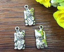 4pcs Maneki Neko Tibetan Silver Bead charms Pendants DIY jewelry 22x10mm