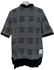 NEW, THOM BROWNE MEN'S NAVY PLAID POLO SHIRT, 5, $950