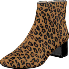 NEW CLARKS CHINABERRY BAY LEOPARD PRINT LEATHER BOOTS