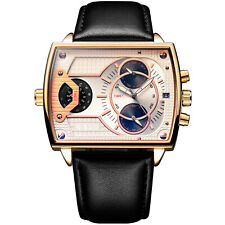 Men's Quartz Wrist Watch Square Black Leather Band Gold White Dial Case Week