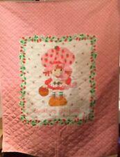 Vintage 1980 Strawberry Shortcake Crib Quilt Blanket Handmade *Read Desc*