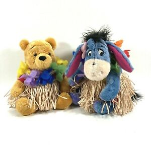 Disney Store Winnie The Pooh Eyeore Grass Skirt Hawaiian 7 inch Bean Bag Plush