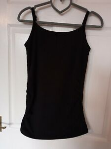 Ladies Maternity Black Adjustable Strap Strappy Vest Top Size 8- Papaya