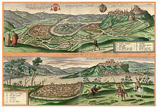 Esztergom Komárom Hungary bird's-eye view map Braun Hogenberg ca.1598