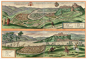 Esztergom Komárom Hungary bird's-eye view map Braun Hogenberg ca.1598