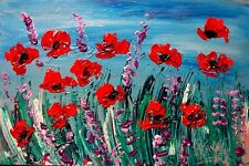 POPPIES ART CANVAS IMPRESSIONIST IMPASTO ARTIST  Original Oil PaWEF