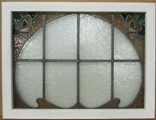 "MIDSIZE OLD ENGLISH LEADED STAINED GLASS WINDOW Pretty Double Rose 28"" x 21.75"""