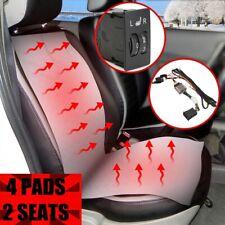 2 Seats 4Pad Carbon Fiber Car Seat Heater Heated Cushion 5 Level Switch Kits